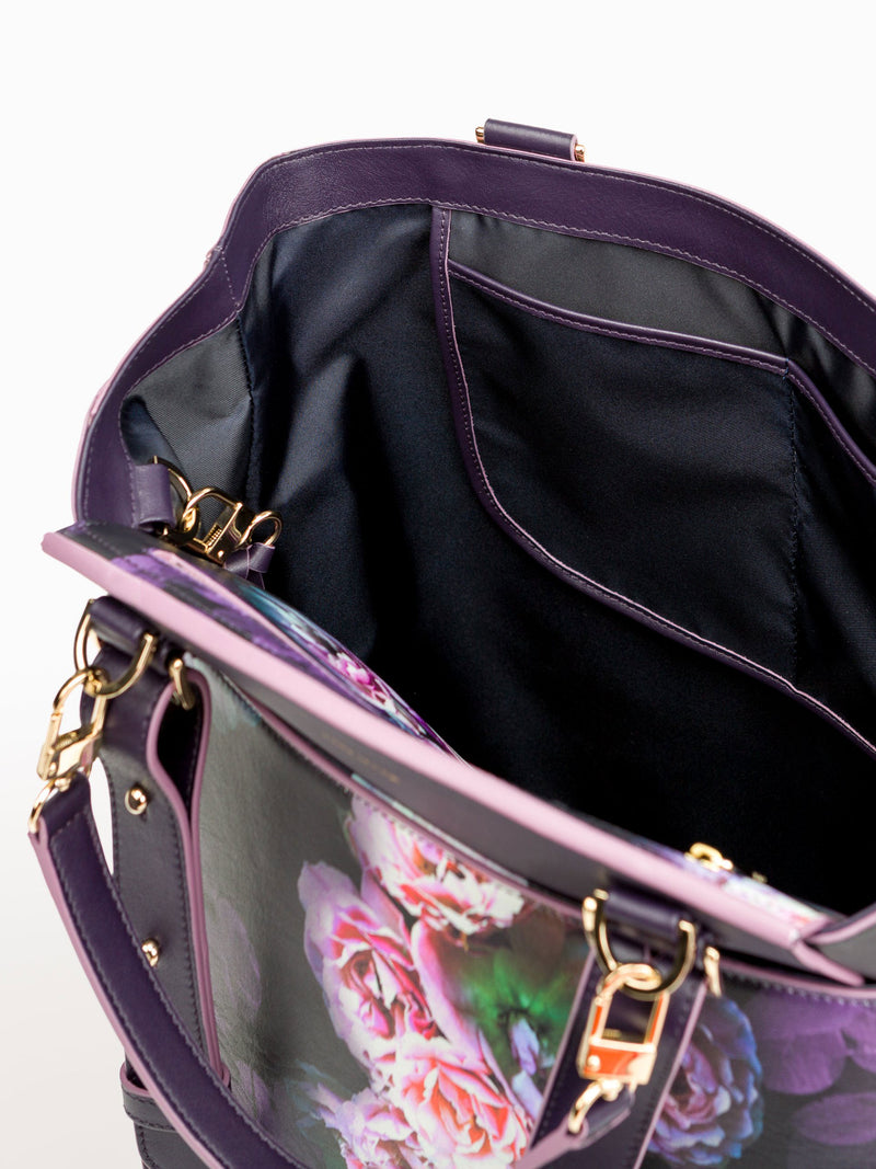 Convertible Backpack Tote Black Peony [Leather Carryall Bag, Carryall]