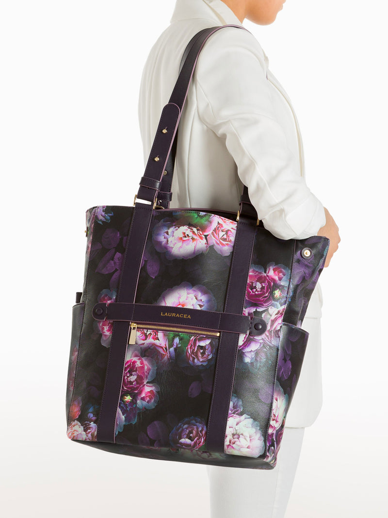 Convertible Backpack Tote Black Peony [High Quality, Travel Bag, Equestrian Bag]