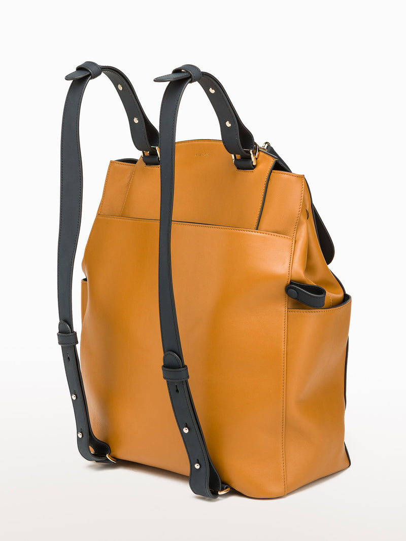 Convertible Backpack Tote Caramel Navy [Leather Tote, Caramel Bag, Leather Bag, Navy Bag]