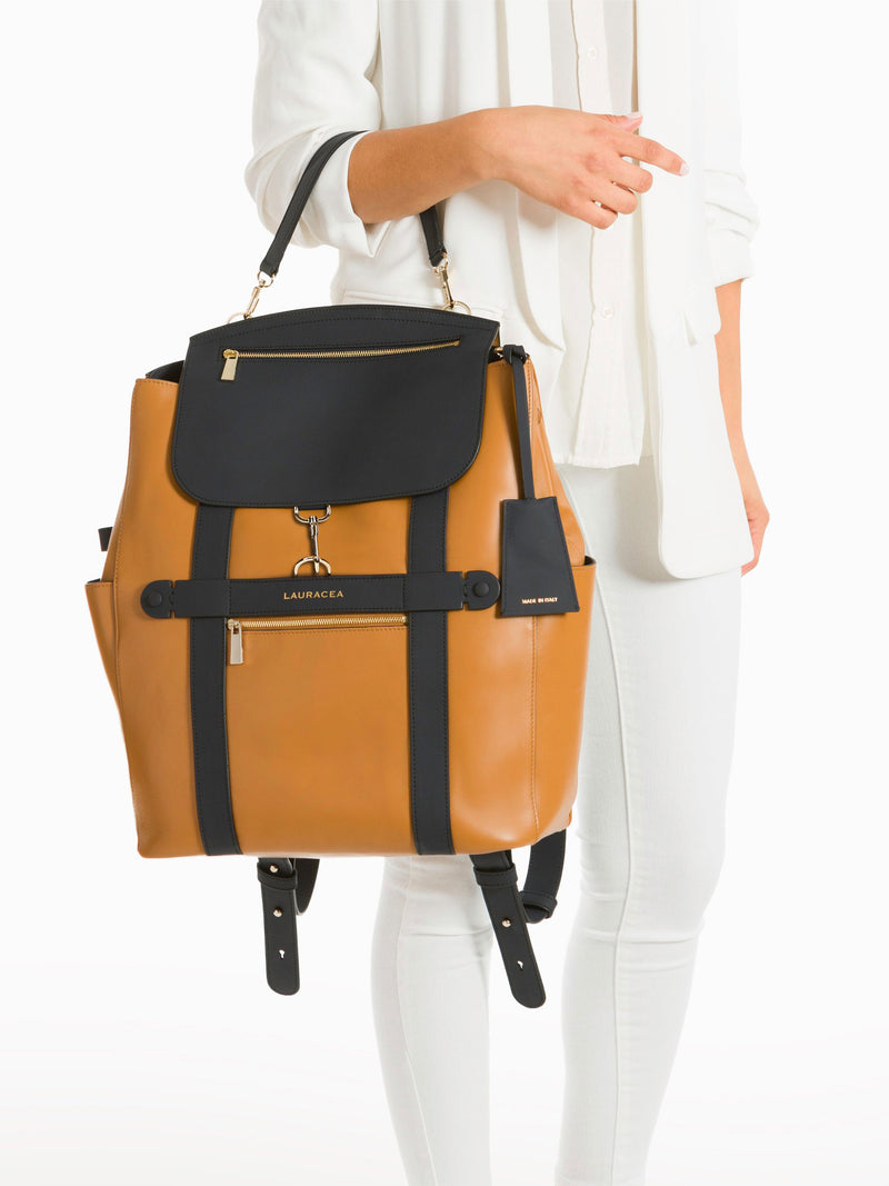 Convertible Backpack Tote Caramel Navy [Convertible Bag, Leather Convertible Backpack, Equestrian Gear]