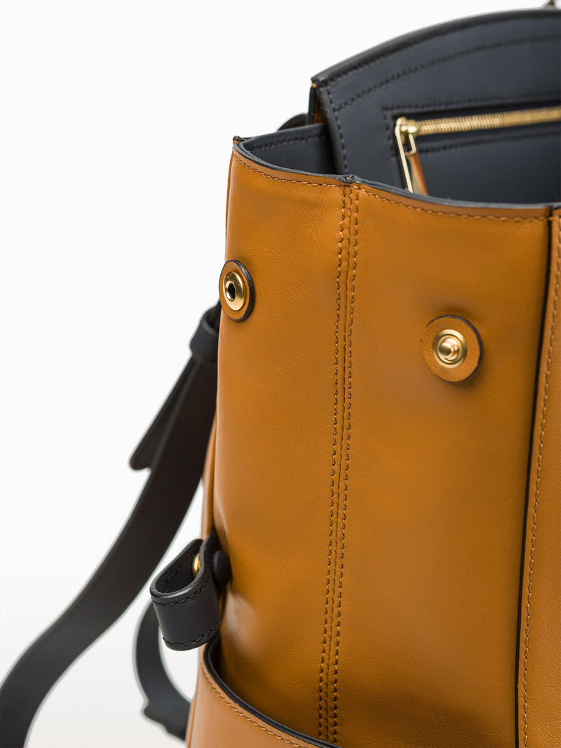 Convertible Backpack Tote Caramel Navy [Italian Leather Backpack, Luxury Backpack, Classic Backpack]