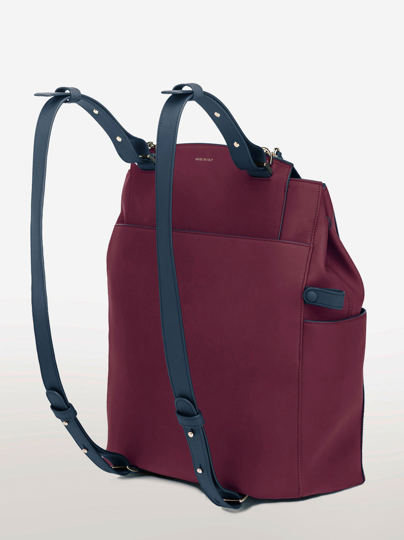 Convertible Backpack Tote Cranberry Navy Matte [Leather Tote, Cranberry Bag, Leather Bag, Cranberry Navy Bag]