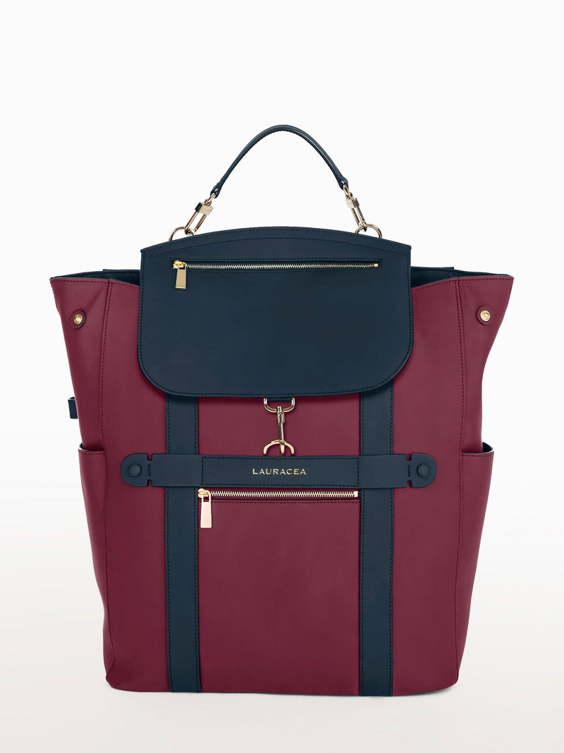Convertible Backpack Tote Cranberry Navy Matte [Cranberry Navy Backpack, Cranberry Tote, Work Bag]
