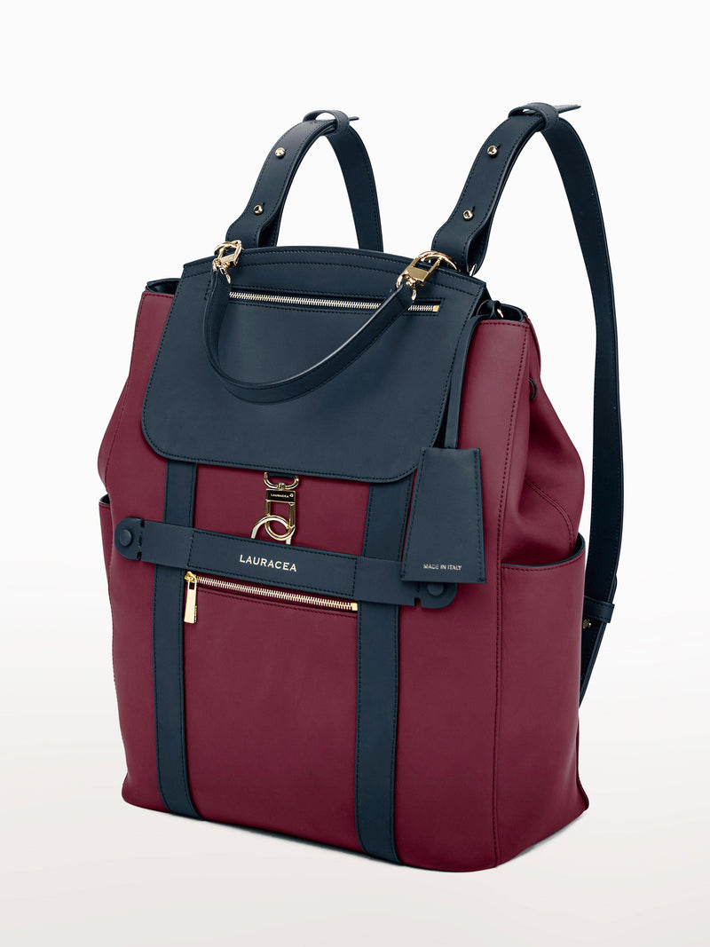 Convertible Backpack Tote Cranberry Navy Matte [Leather Tote, Cranberry Leather Tote, Equestrian Sport Backpack]