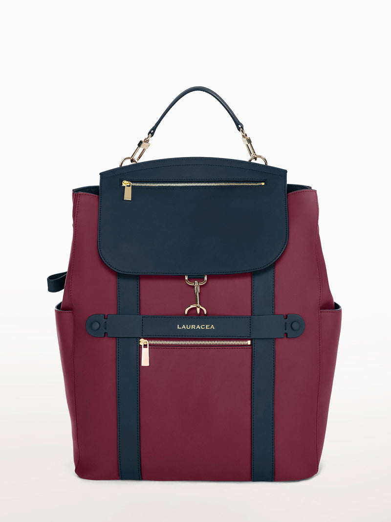 Convertible Backpack Tote Cranberry Navy Matte [Backpack, Tote, Cranberry Leather Backpack, Work Backpack]