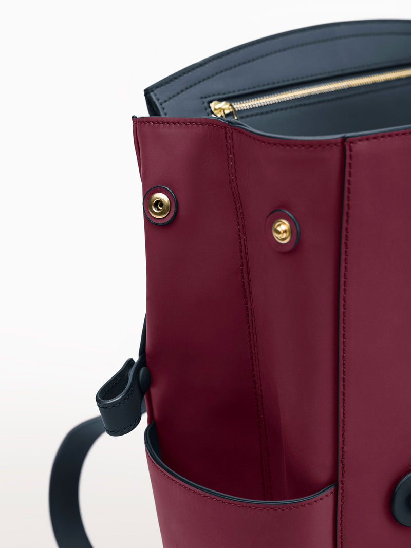 Convertible Backpack Tote Cranberry Navy Matte [Italian Leather Backpack, Luxury Backpack, Classic Backpack]