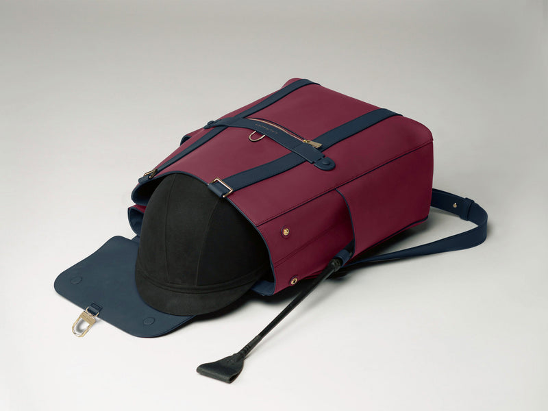 Convertible Backpack Tote Cranberry Navy [Equestrian Helmet Backpack, Rider Leather Backpack]
