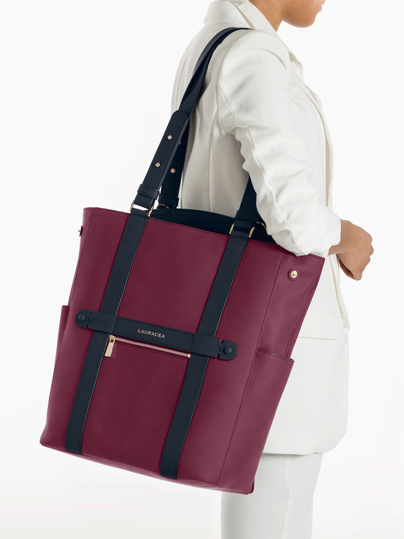 Convertible Backpack Tote Cranberry Navy Matte [High Quality, Travel Bag, Equestrian Bag]