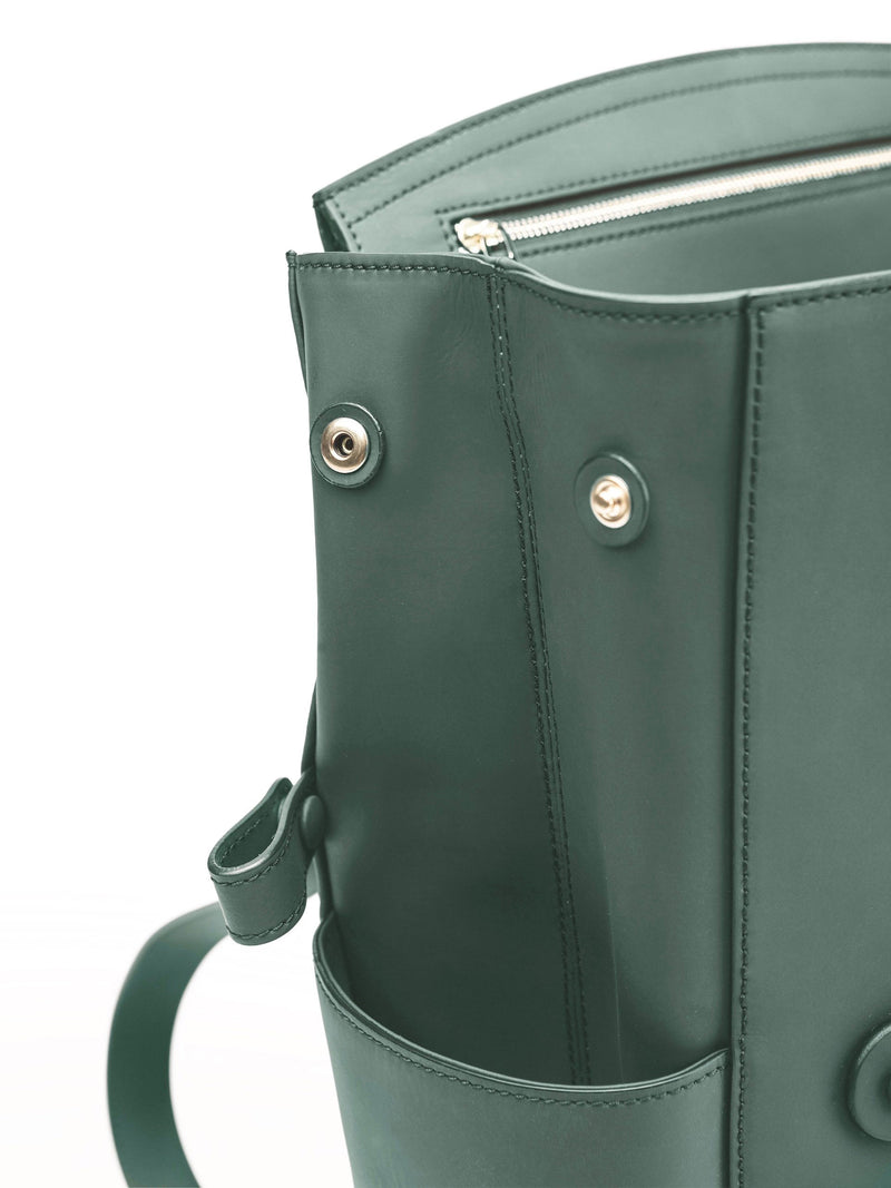 Convertible Backpack Tote Khaki Matte [Italian Leather Backpack, Luxury Backpack, Classic Backpack]
