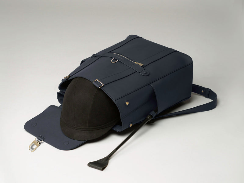 Convertible Backpack Tote Navy Matte [Equestrian Helmet Backpack, Rider Leather Backpack]