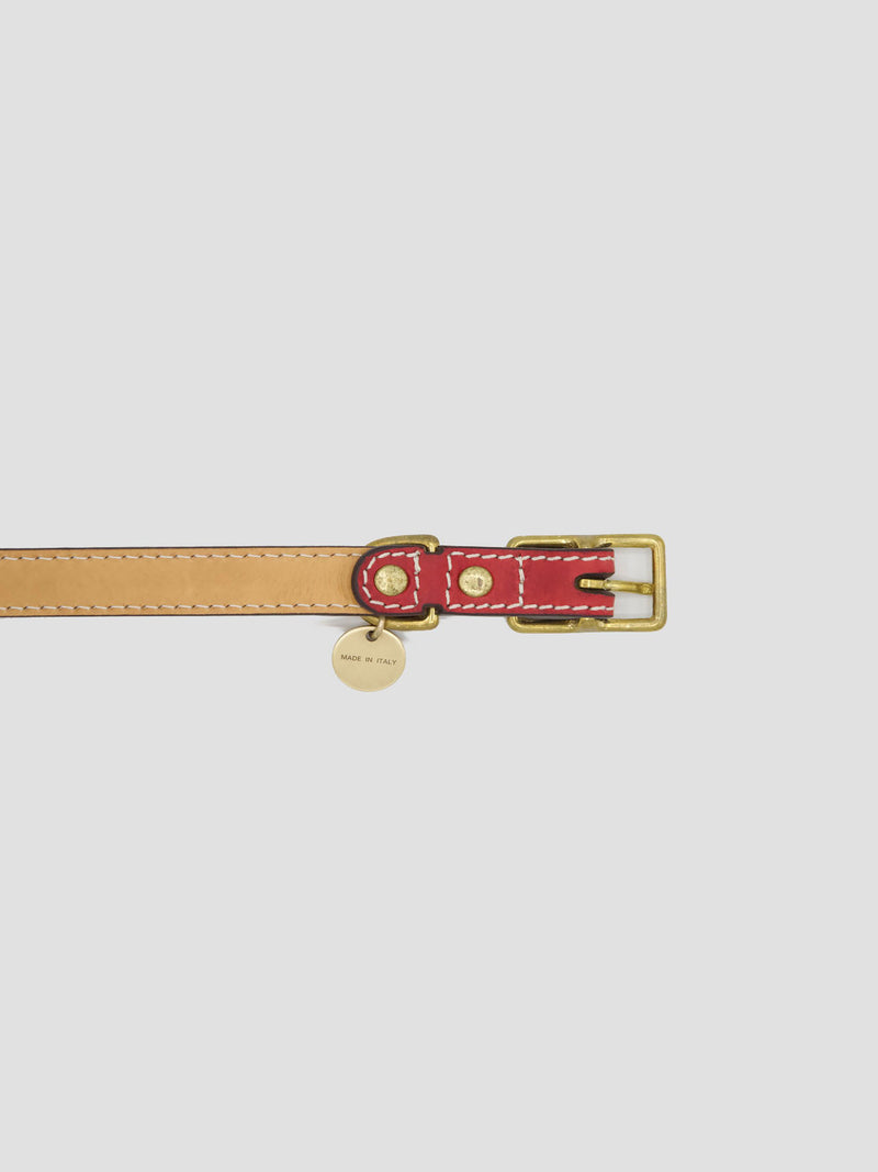Dog Kit Red [Red Leather Collar Accessories, High Quality Leash]