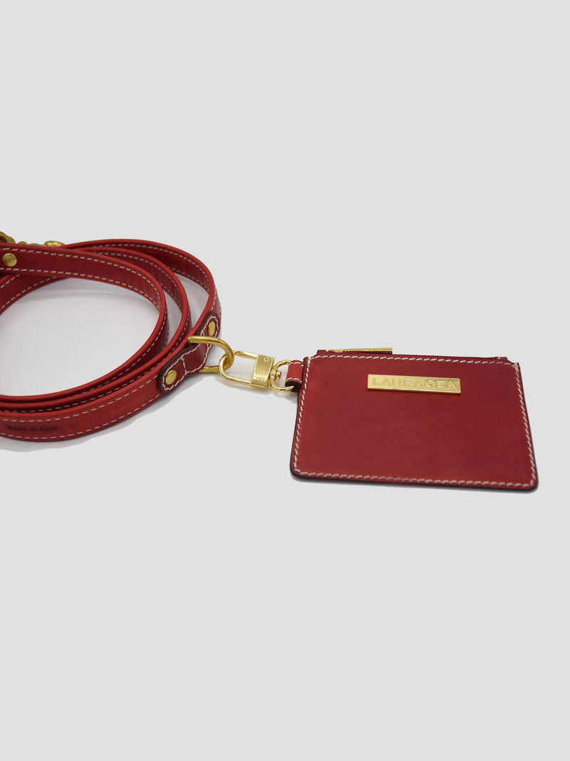 Dog Kit Red [Italian Leather Collar, Premium Leash]