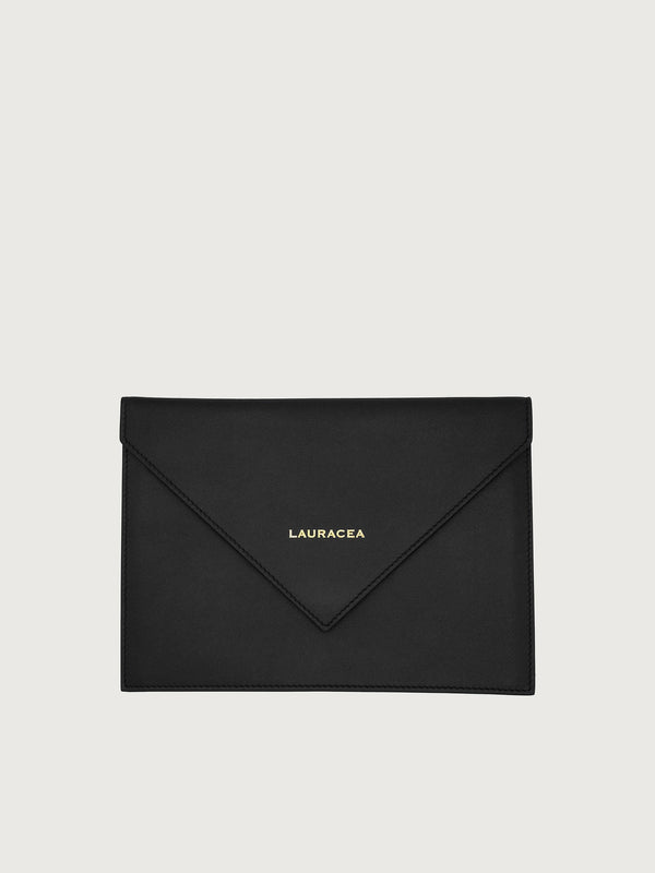 Envelope Black [Black Leather, Ivory Leather, Envelope Clutch, Small Wallet]