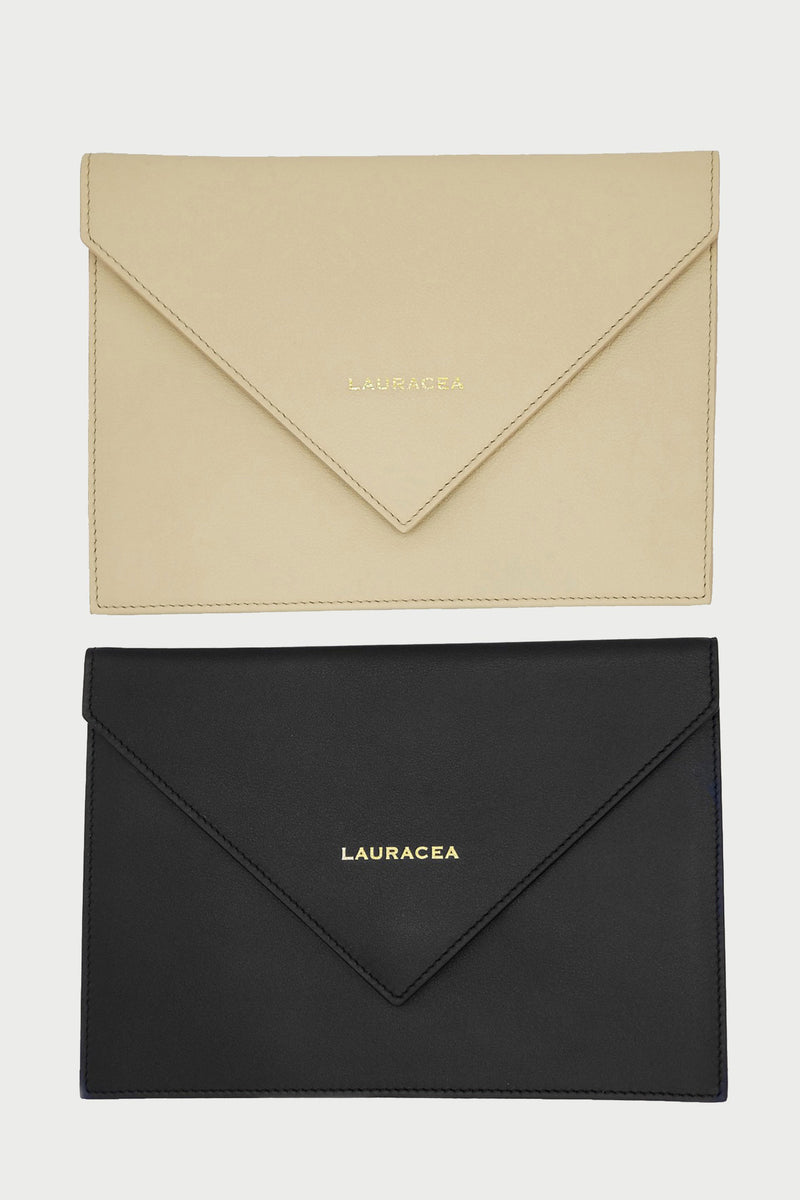 Envelope Black and Ivory [Envelope, Black Envelope, Ivory Envelope, Leather Clutch, Small Purse]
