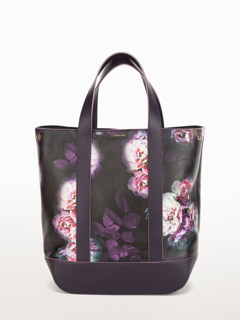 Hampton Shopper Black Peony [Equestrian Accessories, Leather Accessories, Black Leather Hampton]