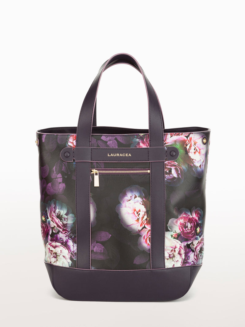 Hampton Shopper Black Peony [Carryall Leather Bag, Peony Print Purse, Leather Weekend Bag]