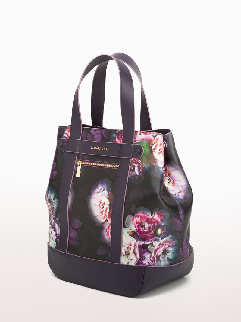 Hampton Shopper Black Peony [Equestrian Fashion, Leather Handbag, Purse, Leather Accessory, Purse]