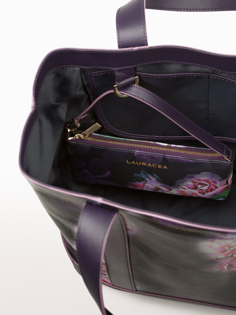 Hampton Shopper Black Peony [Travel Bag, Travel Accessories, Leather Wallet]