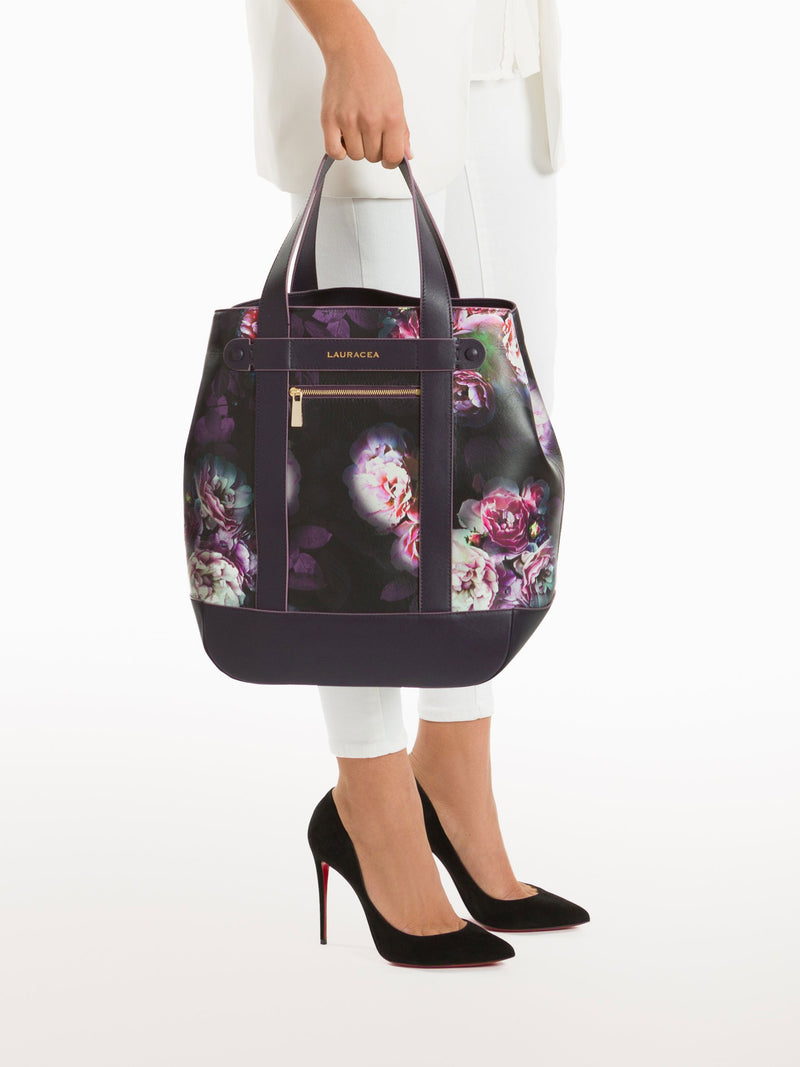 Hampton Shopper Black Peony [Handbag, Italian Leather, Timeless Design, Classic Shopper]
