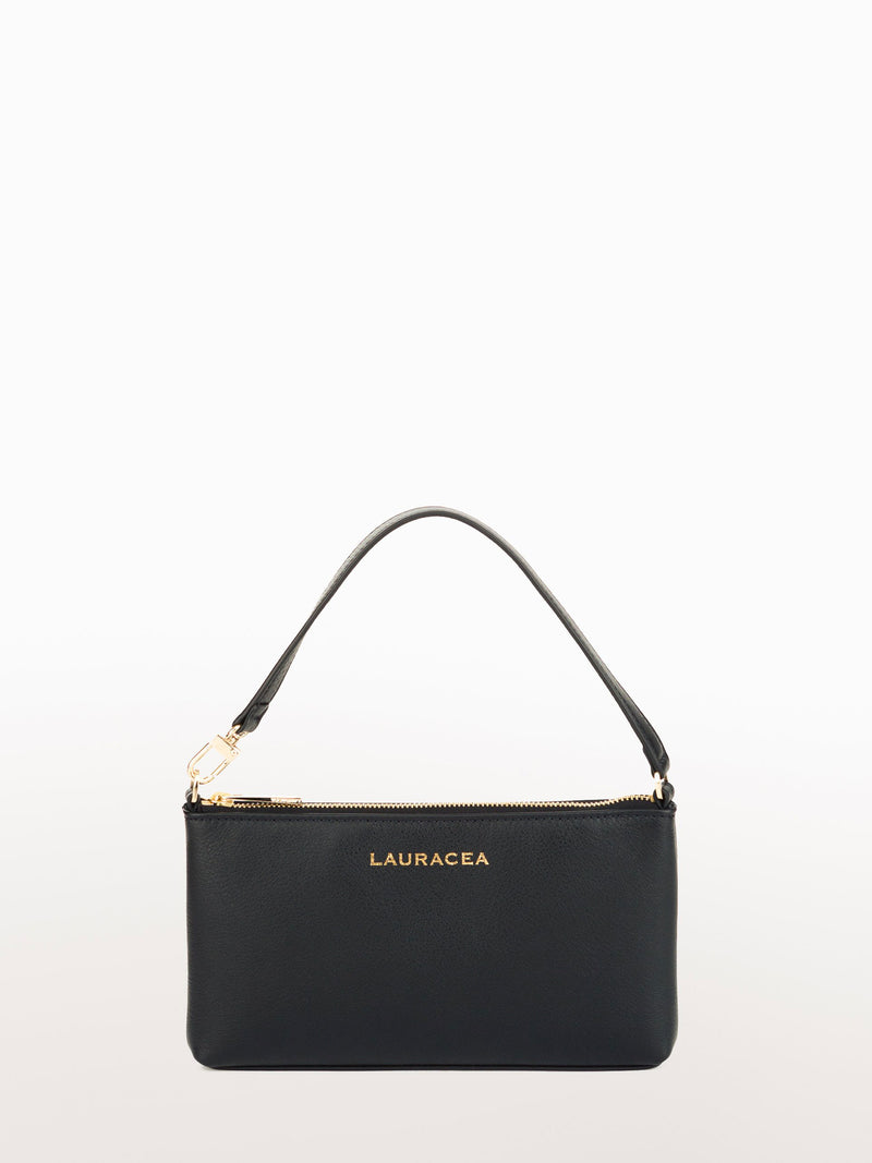 Mini Black Calf [Small Leather Bag, Black Purse, Leather Clutch]