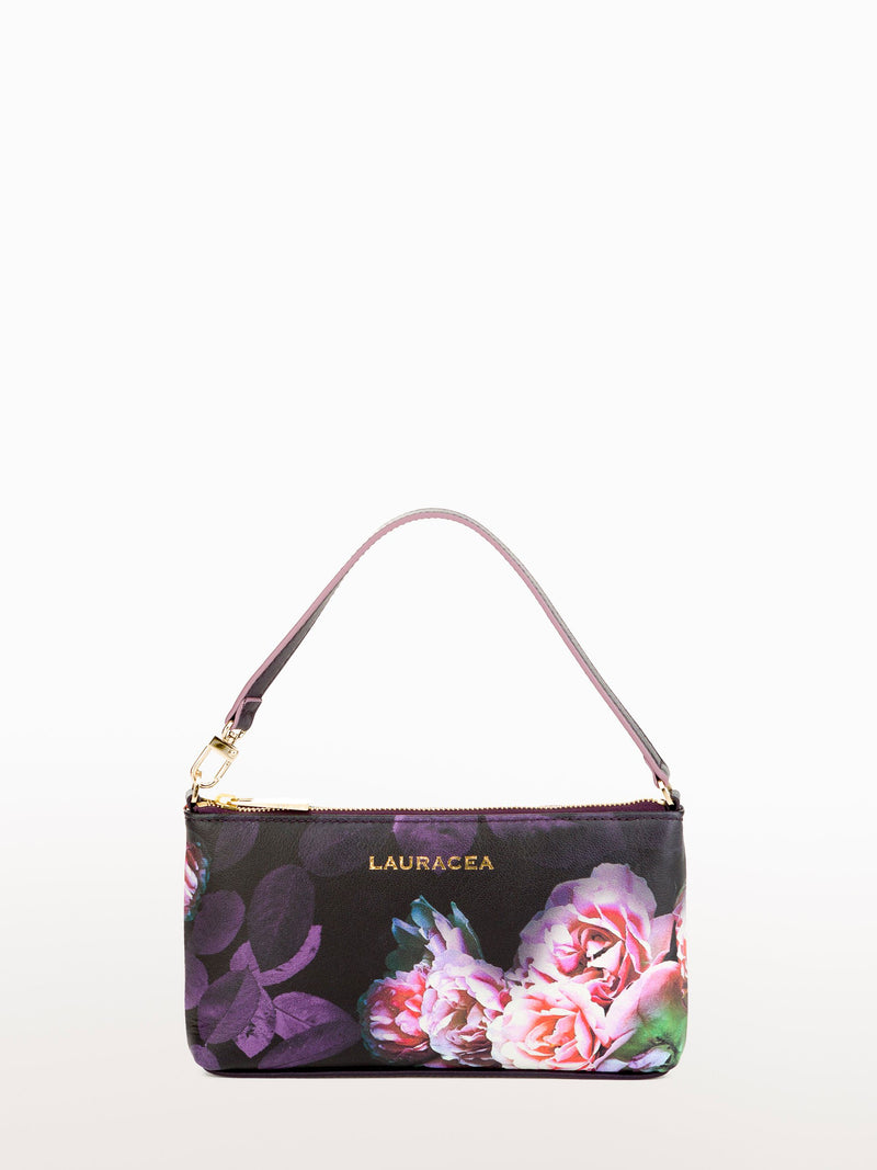 Mini Black Peony [Small Leather Bag, Peony Print Purse, Leather]