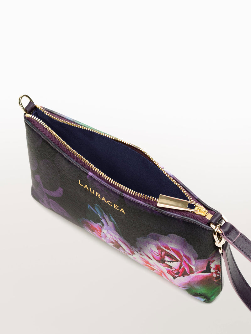 Mini Black Peony [Peony Print Purse, Travel Accessories, Leather Wallet]
