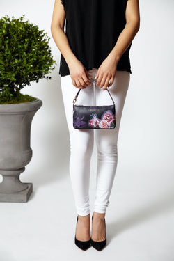 Mini Black Peony [Leather Mini, Clutch, Small Purse, Handbag]