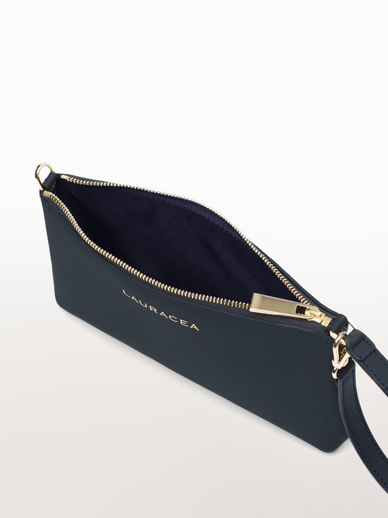 Mini Navy Matte [Matte Navy Leather Purse, Travel Accessories, Leather Wallet]