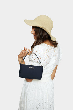 Mini Navy Matte [Leather Mini, Clutch, Small Purse, Waterproof Handbag]