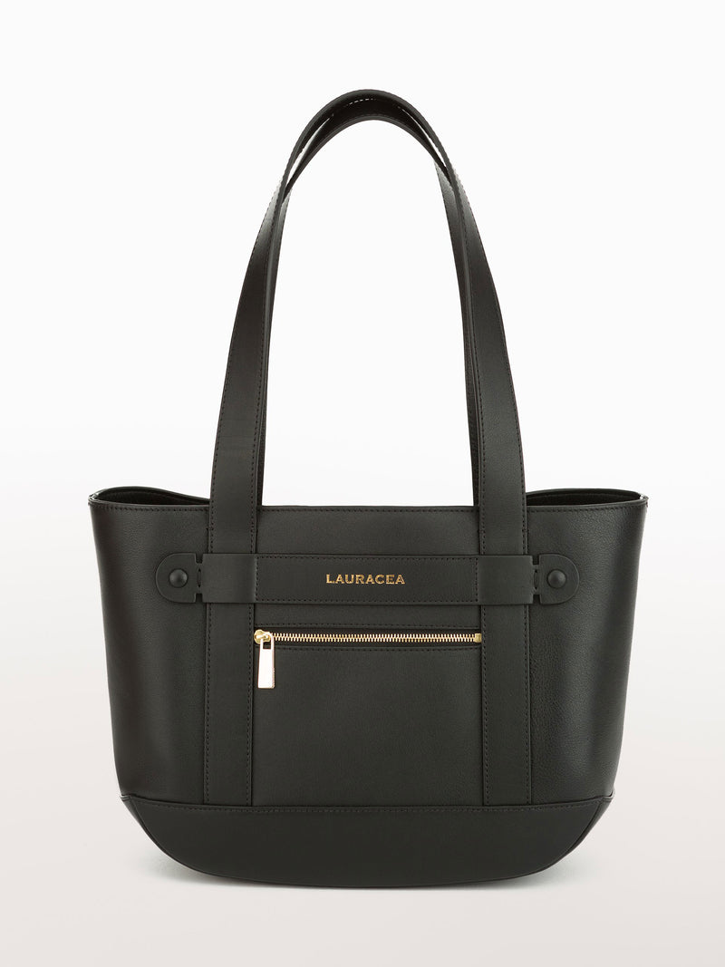 Petite Tote Black [Carry-on, Equestrian, Black Leather, Premium Quality]