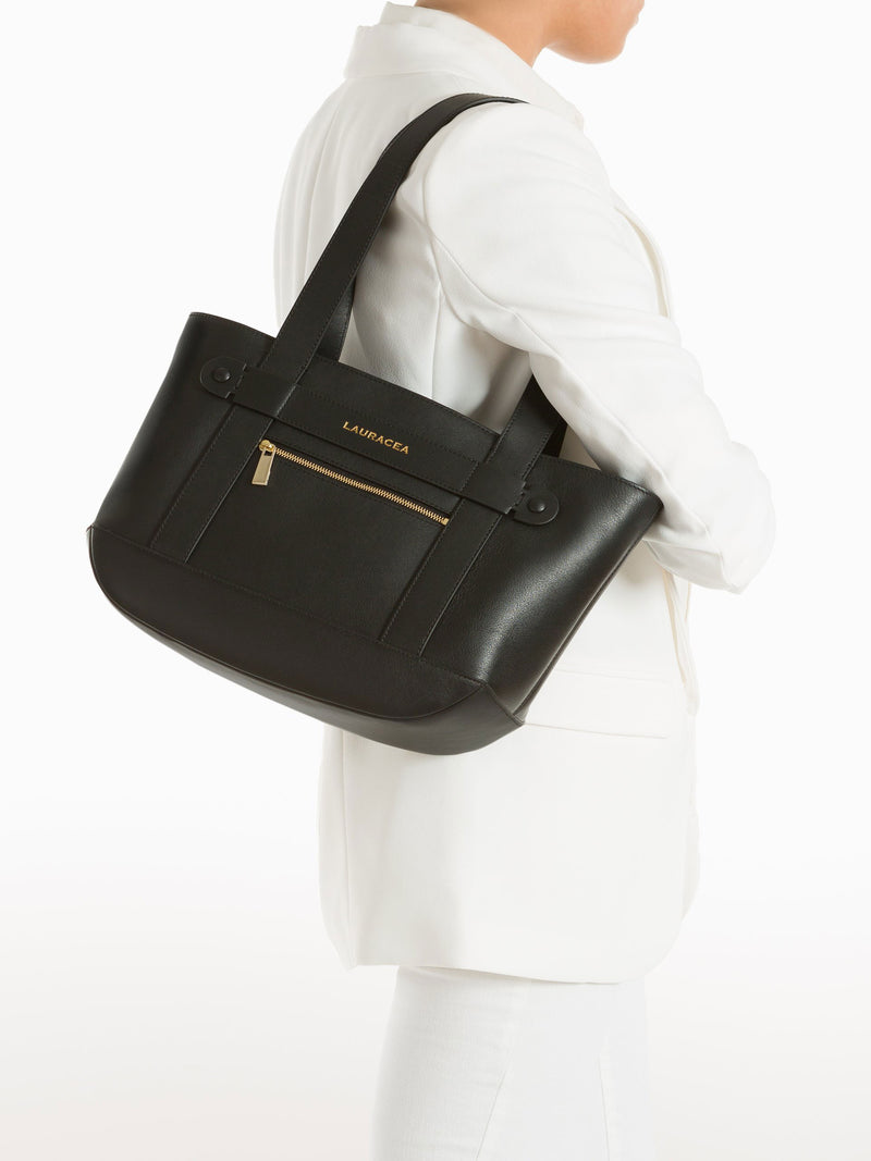 Petite Tote Black [Totebag, Italian Leather, Timeless Design, Classic Tote]