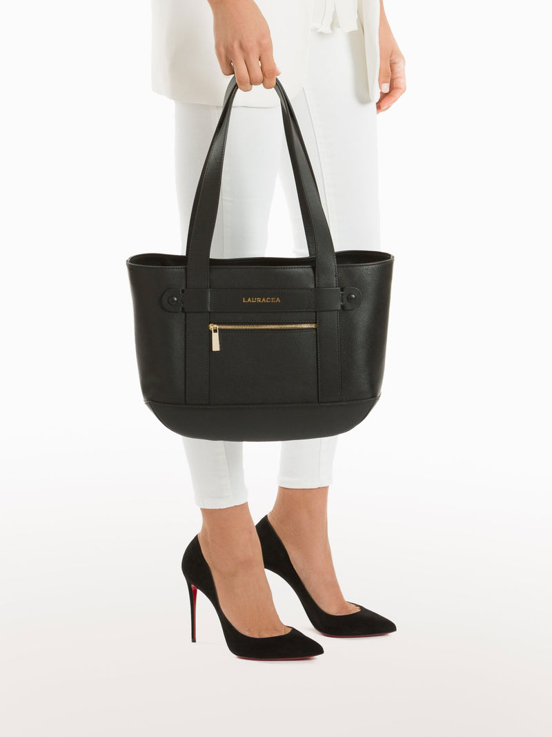 Petite Tote Black [Travel Bag, Italian Fashion, Luxury Handbag, Horse Show Circuit Wear]