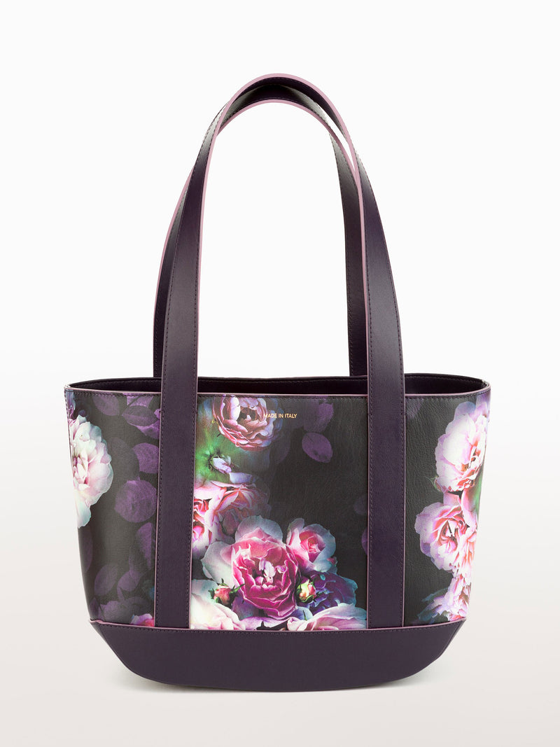 Petite Tote Black Peony [Equestrian Accessories, Leather Accessories, Leather Print Purse Womens]