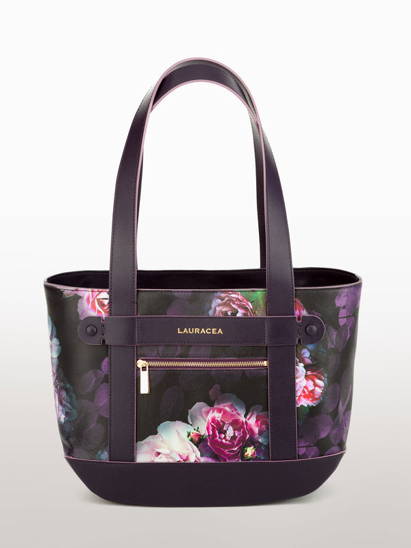 Petite Tote Black Peony [Carry-on, Equestrian, Black Print Leather, Premium Quality]