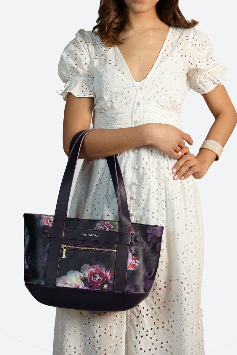 Petite Tote Black Peony [Classic Tote, Small Handbag, Leather Carryall, Black Leather Tote]