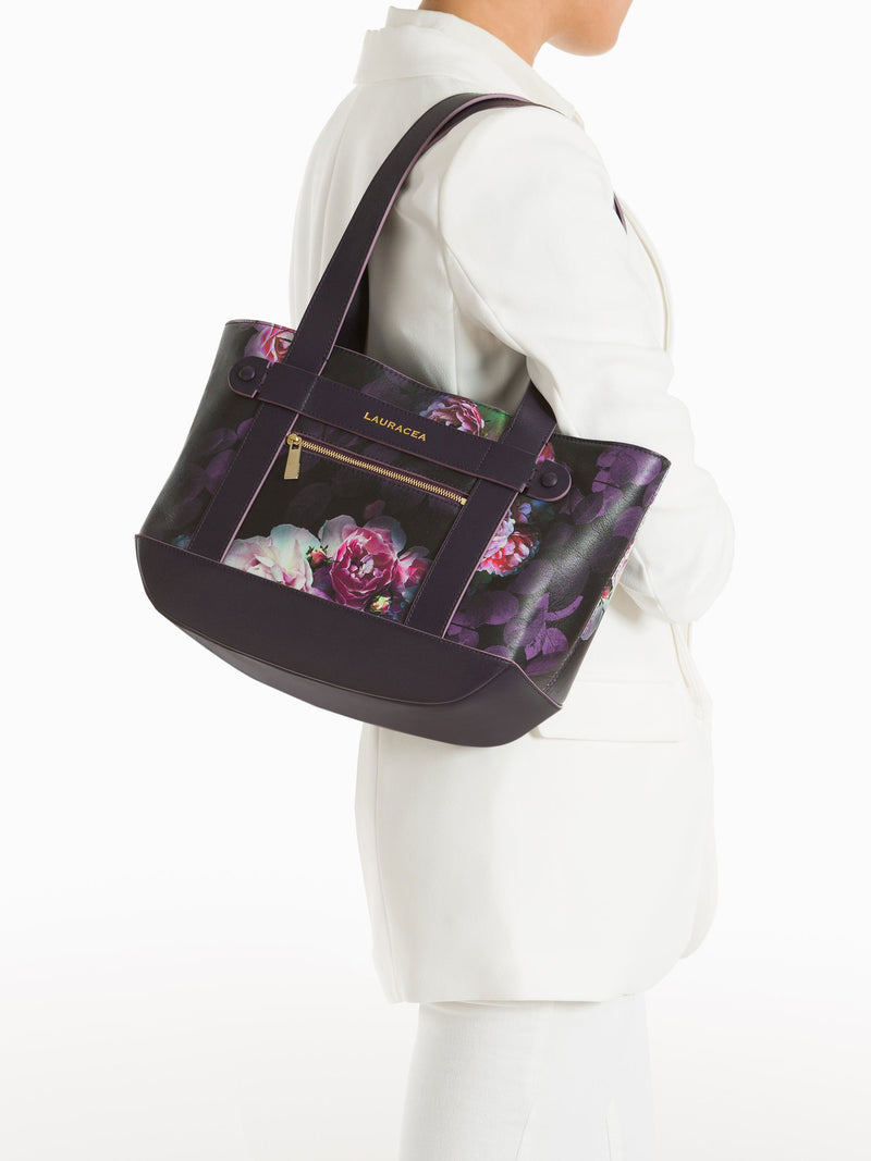 Petite Tote Black Peony [Totebag, Italian Leather, Timeless Design, Classic Tote]