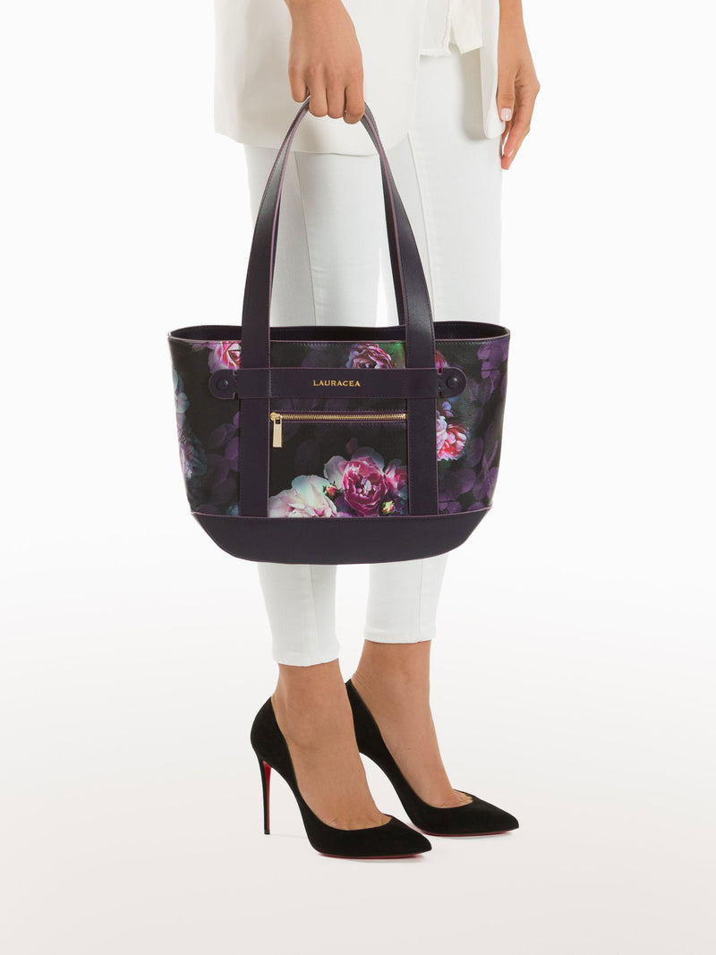 Petite Tote Black Peony [Travel Bag, Italian Fashion, Luxury Handbag, Horse Show Circuit Wear]