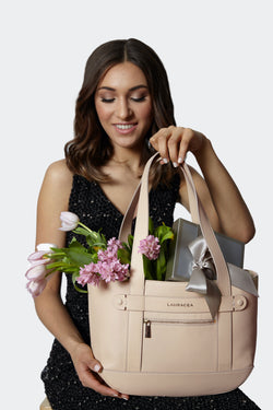 Petite Tote Bone [Classic Tote, Small Handbag, Leather Carryall, Beige Leather Tote]