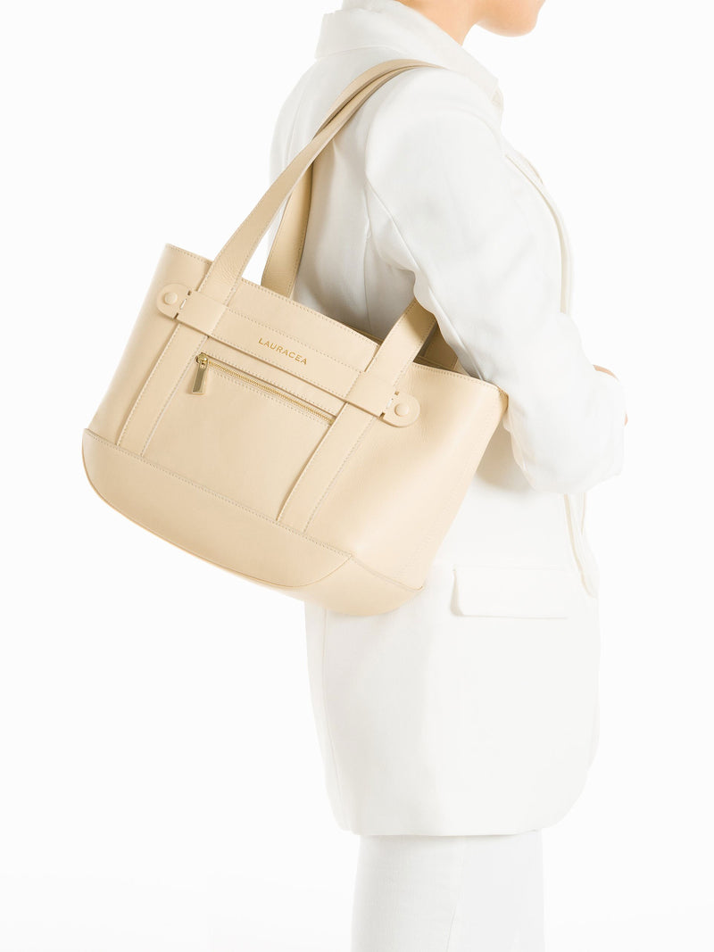 Petite Tote Bone [Totebag, Italian Leather, Timeless Design, Classic Tote]