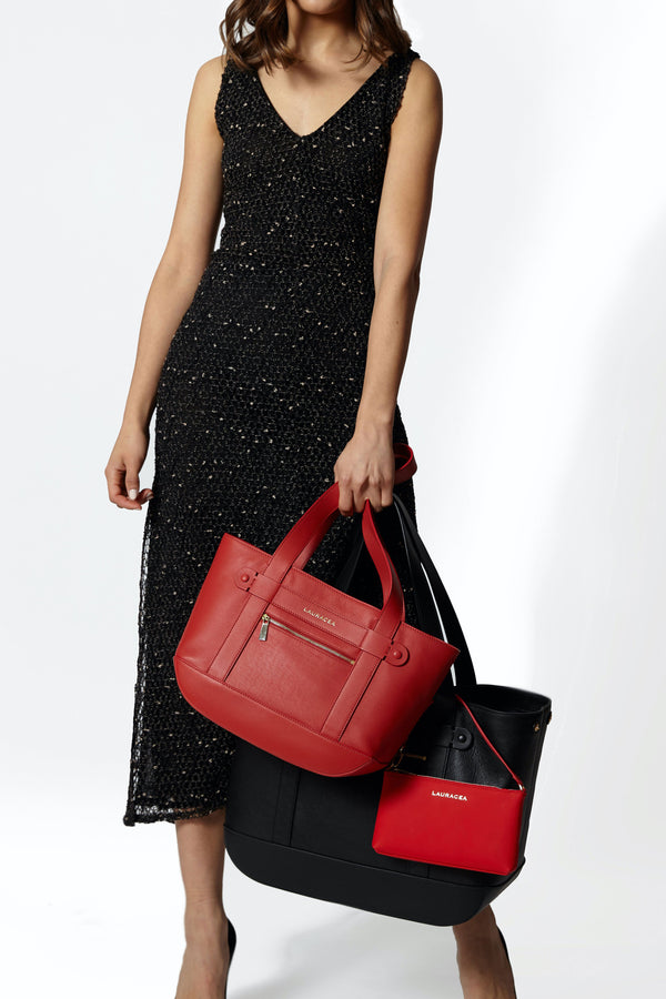 Petite Tote Poppy [Classic Tote, Small Handbag, Leather Carryall, Red Leather Tote]