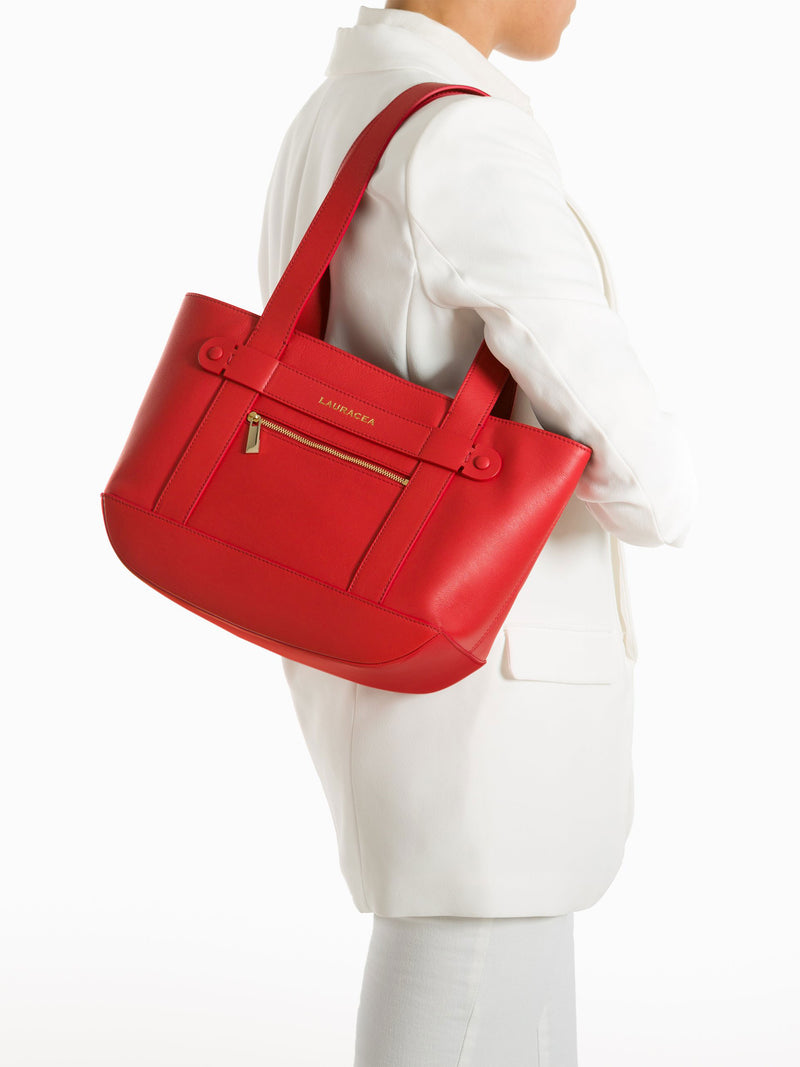 Petite Tote Poppy [Totebag, Italian Leather, Timeless Design, Classic Tote]