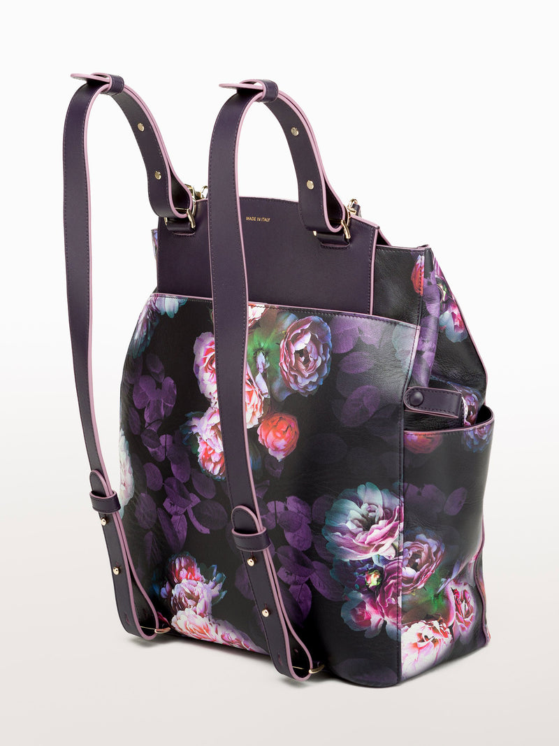 Convertible Backpack Tote Black Peony [Leather Tote, Peony Print Bag, Leather Bag]