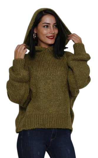 OLIVE HOODIE SWEATER - Marvy Fashion Boutique