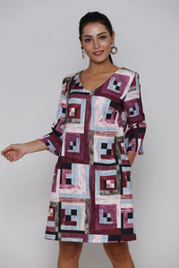 GEO PRINTED DRESS - Marvy Fashion Boutique