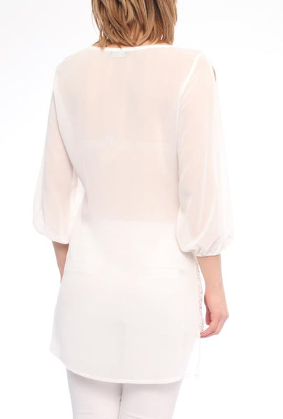 WHITE SHEER TOP - Marvy Fashion Boutique