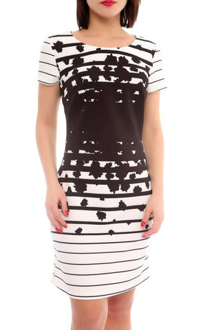 Strip Fitted Dress - Marvy Fashion Boutique