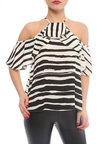 STRIPED COLD SHOULDER TOP - Marvy Fashion Boutique