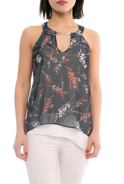 Floral-print Layered Top - Marvy Fashion Boutique