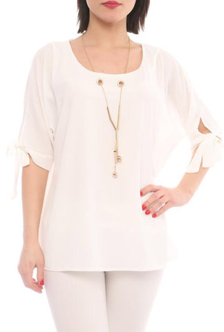 Blouse with Necklace - Marvy Fashion Boutique