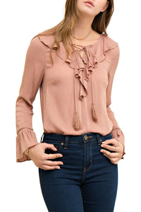 Lace-up blouse - Marvy Fashion Boutique